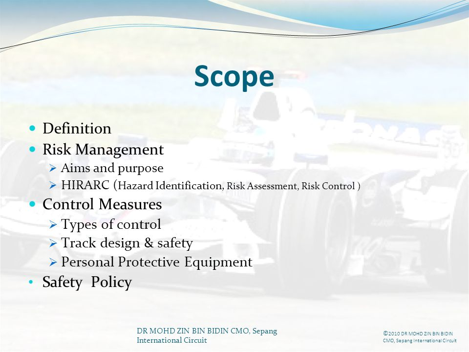 Scope Definition Risk Management Control Measures Safety Policy