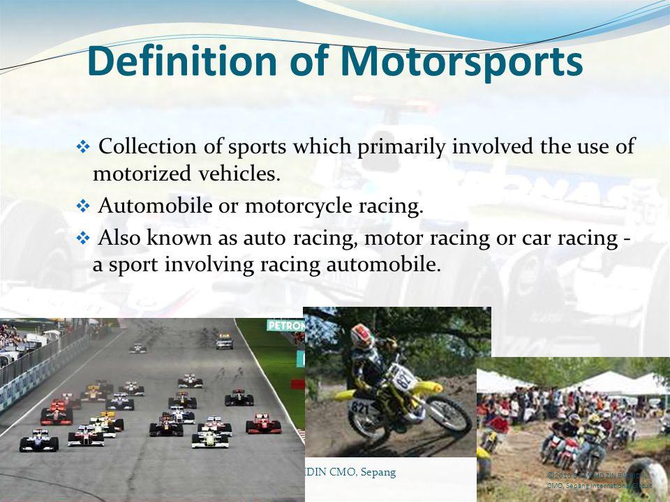 Definition of Motorsports