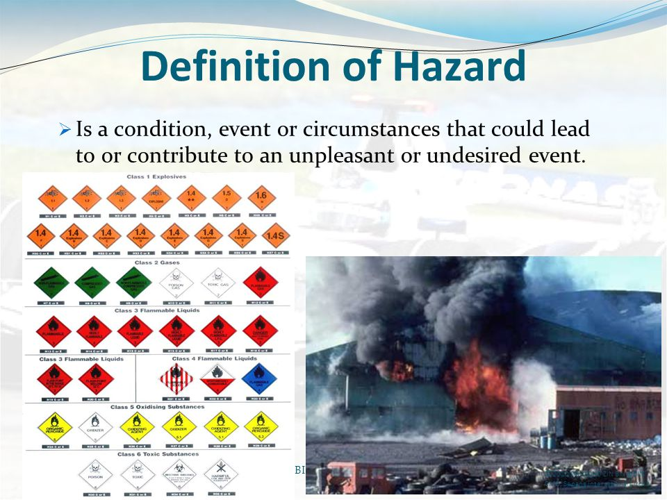 Definition of Hazard Is a condition, event or circumstances that could lead to or contribute to an unpleasant or undesired event.