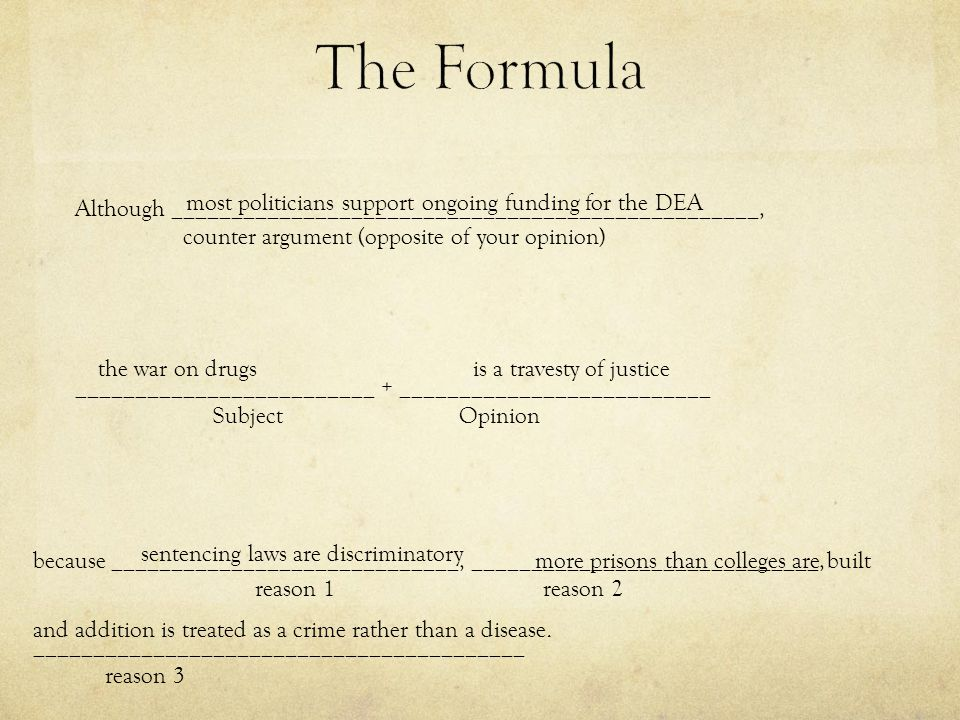The Formula Although _________________________________________________, counter argument (opposite of your opinion)