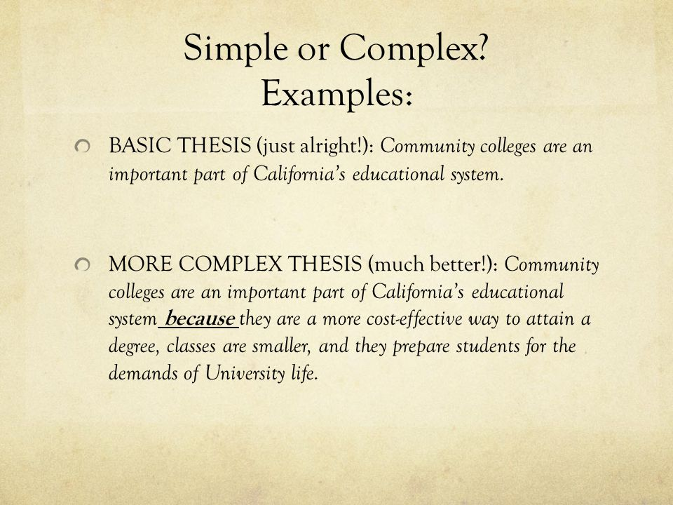 Simple or Complex Examples: