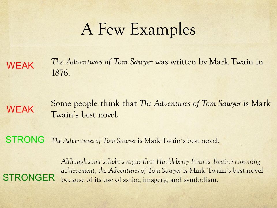 A Few Examples The Adventures of Tom Sawyer was written by Mark Twain in 1876. WEAK.