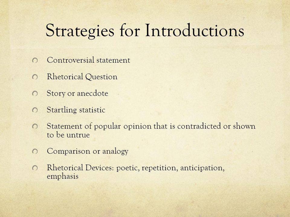 Strategies for Introductions