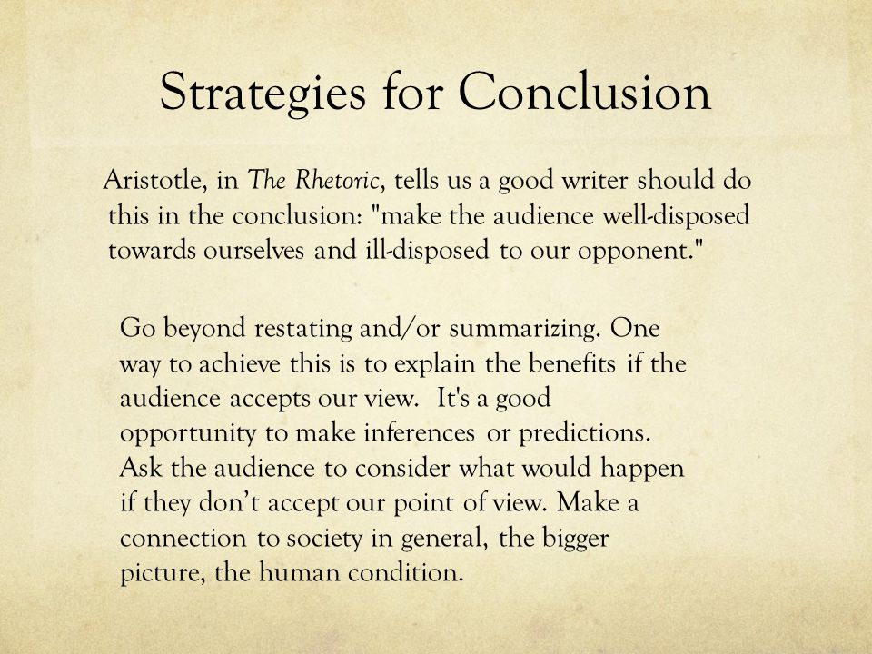 Strategies for Conclusion