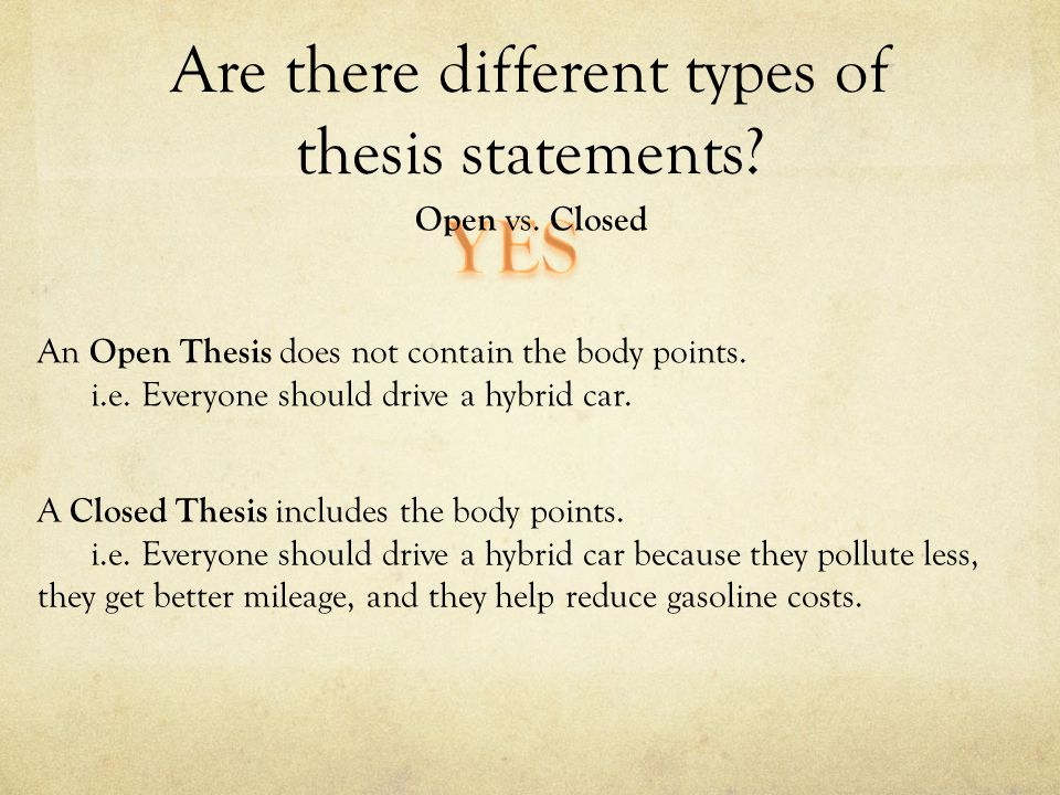 closed thesis definition