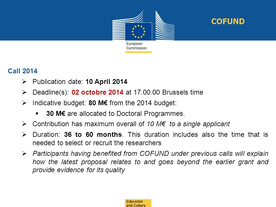 COFUND Call 2014 Publication date: 10 April 2014