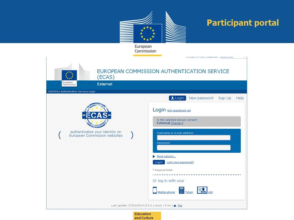 Participant portal Education and Culture