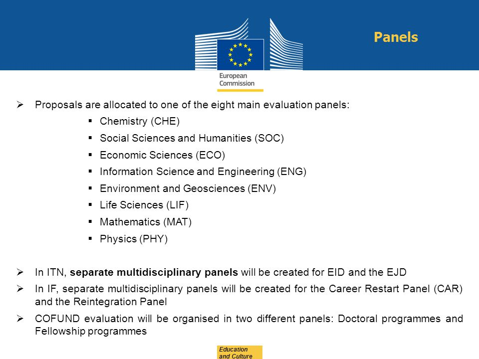 Panels Proposals are allocated to one of the eight main evaluation panels: Chemistry (CHE) Social Sciences and Humanities (SOC)