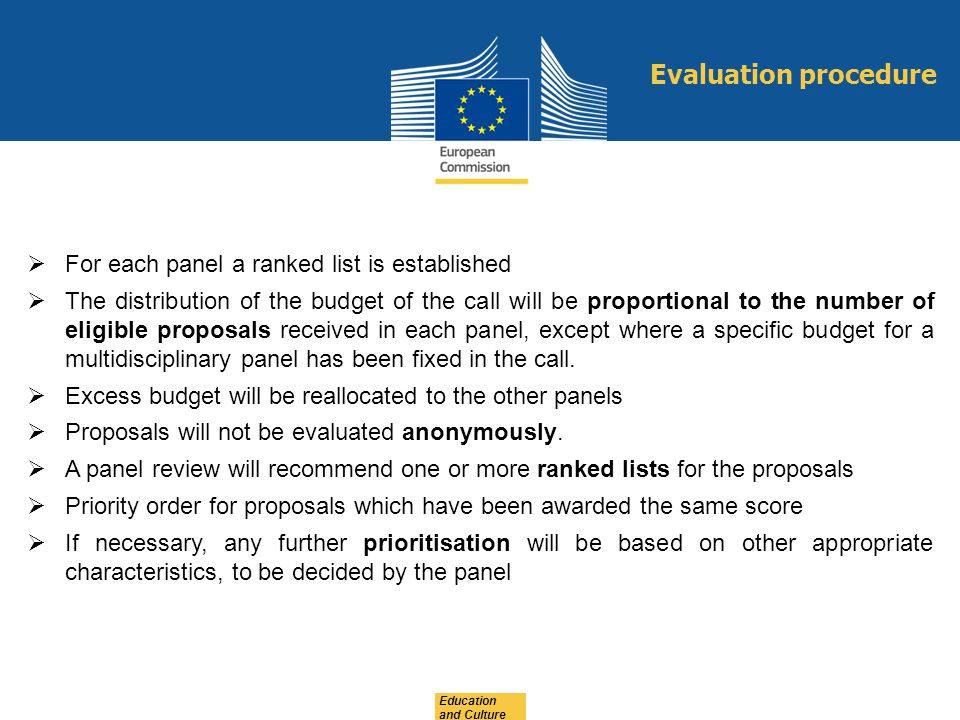 Evaluation procedure For each panel a ranked list is established