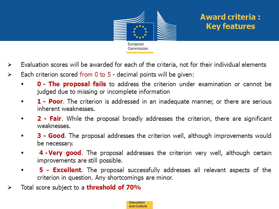Award criteria : Key features