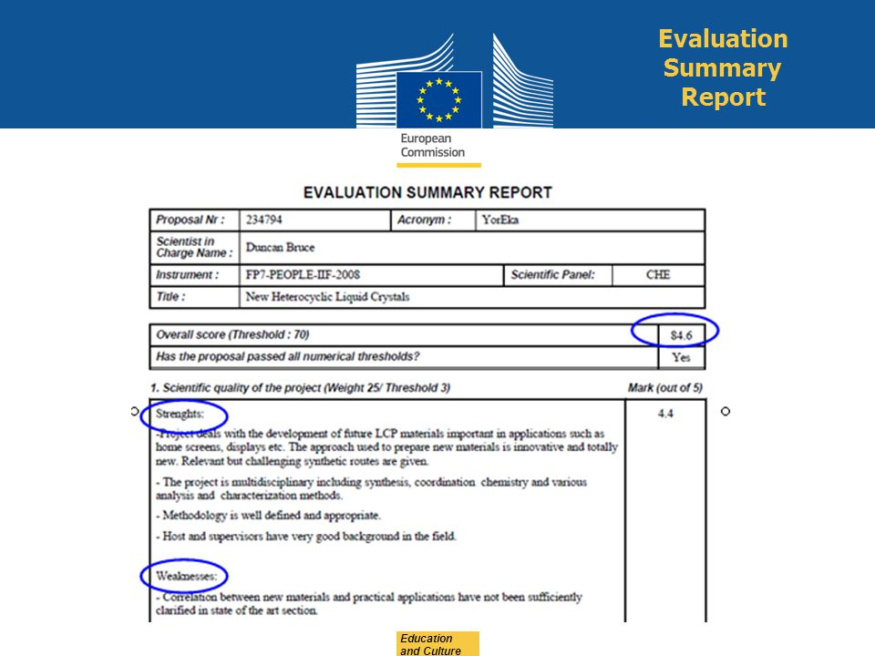 Evaluation Summary Report