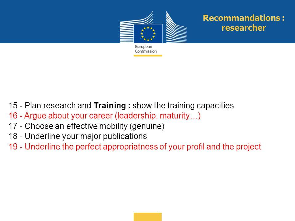 Recommandations : researcher