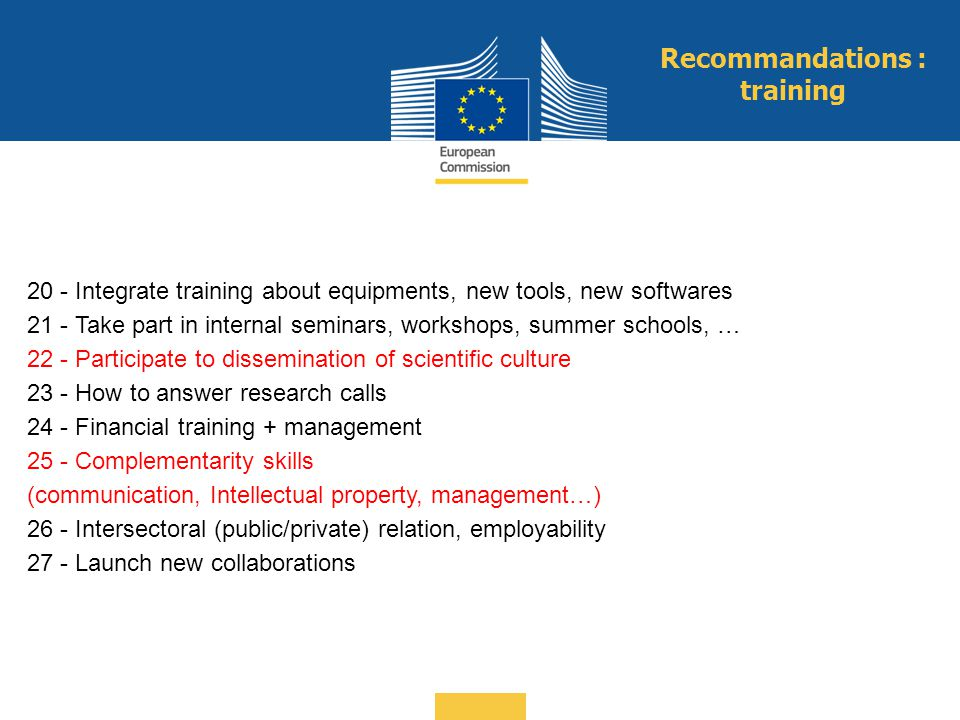 Recommandations : training