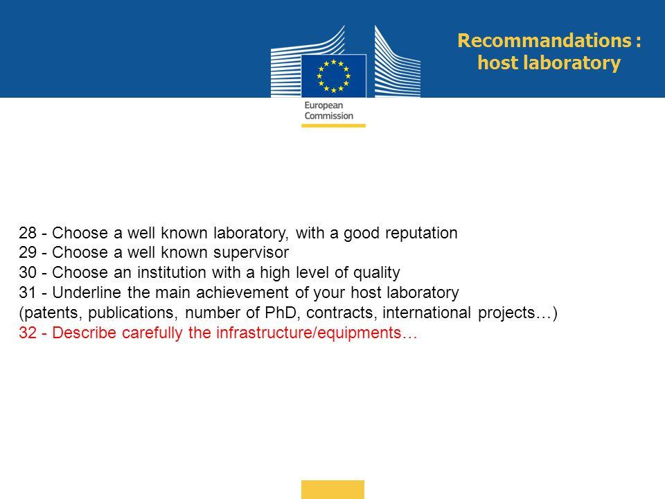 Recommandations : host laboratory
