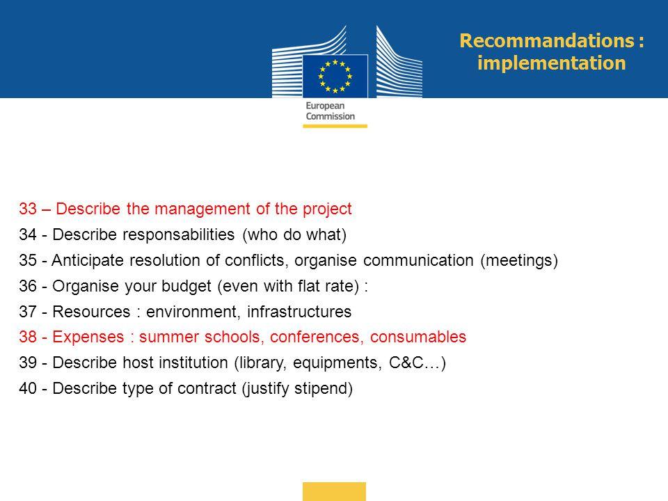 Recommandations : implementation