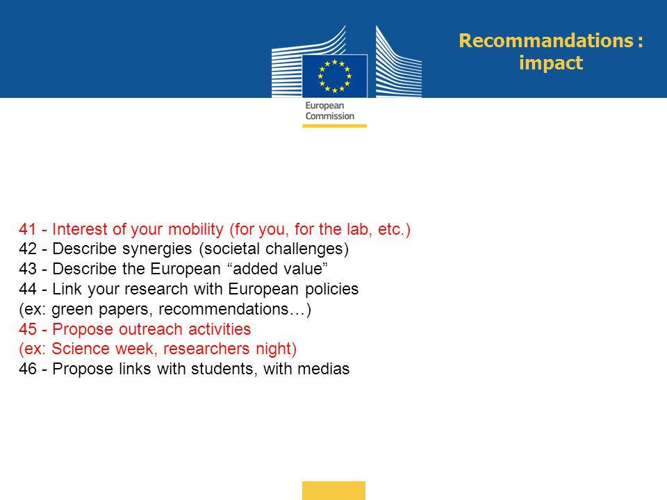 Recommandations : impact