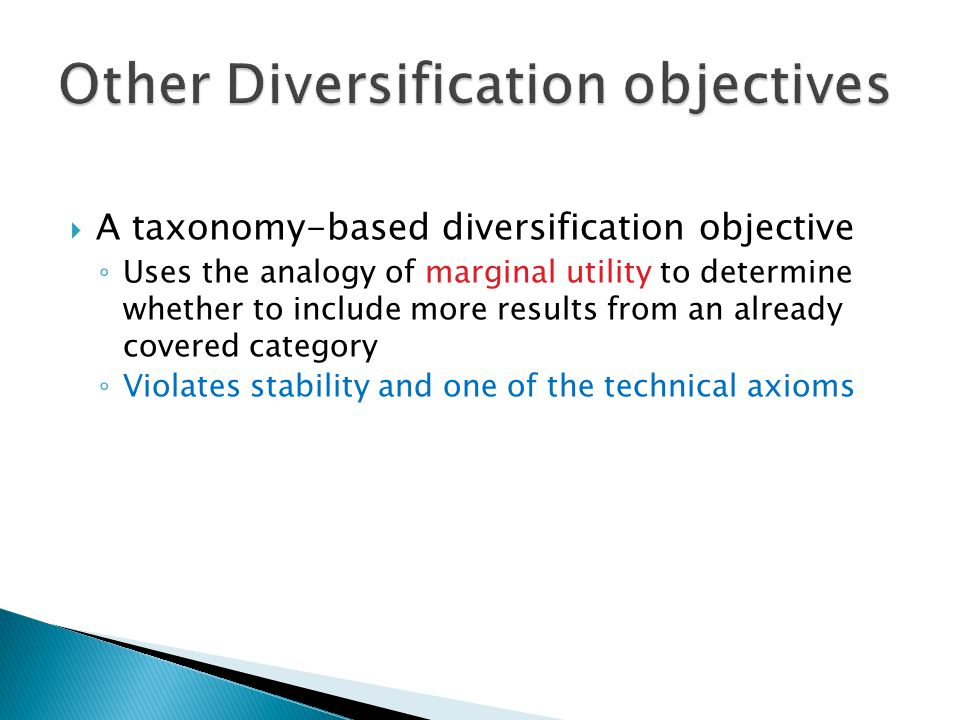 Other Diversification objectives