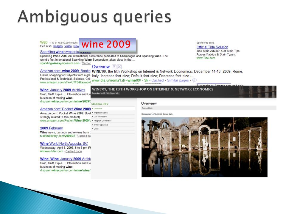 Ambiguous queries wine 2009