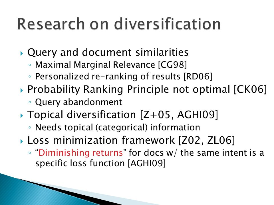 Research on diversification