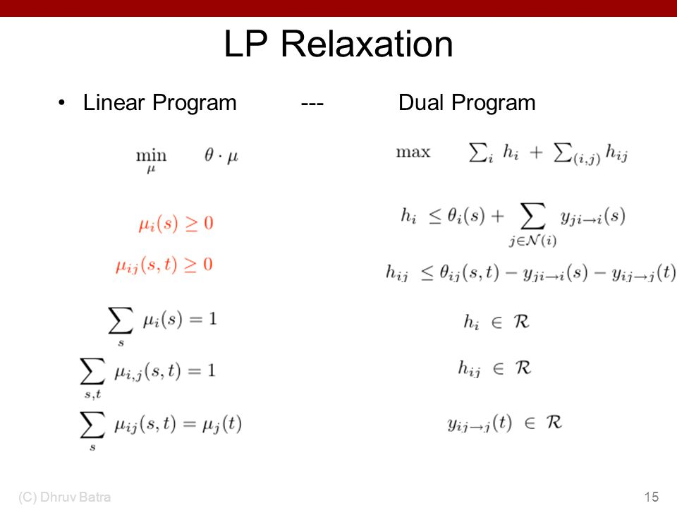 LP Relaxation Linear Program --- Dual Program (C) Dhruv Batra