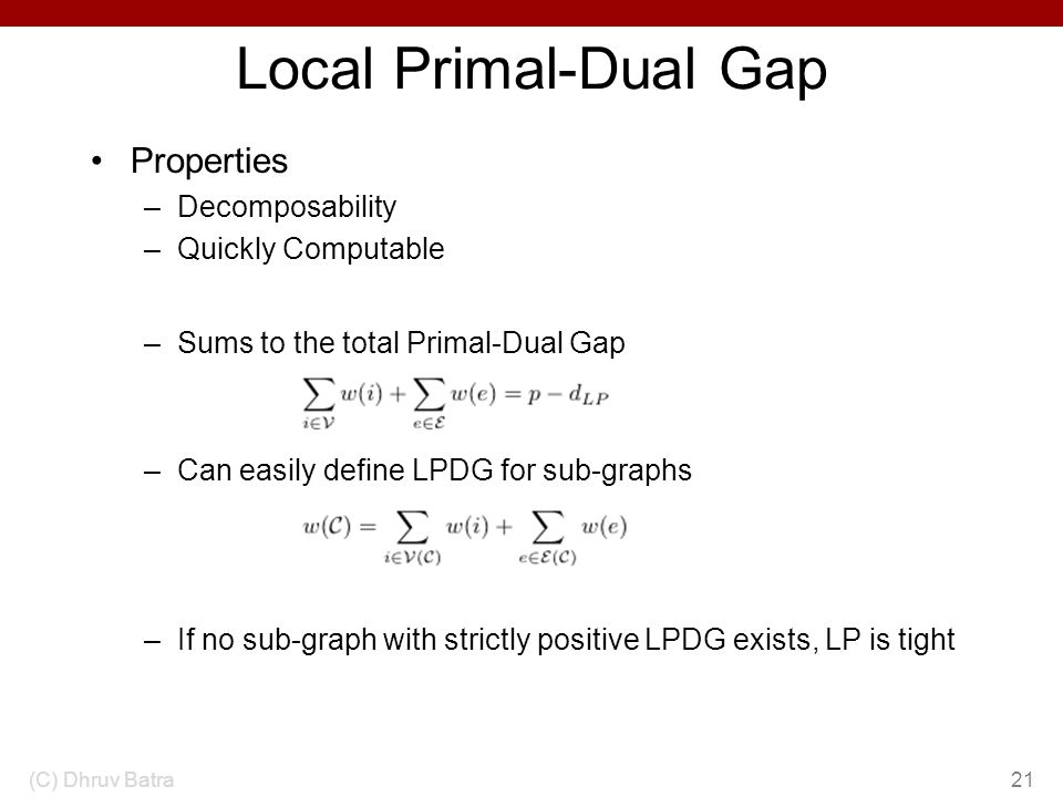 Local Primal-Dual Gap Properties Decomposability Quickly Computable