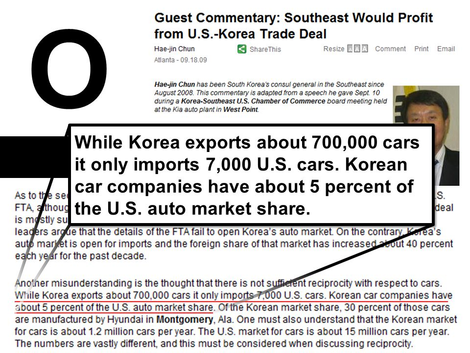 O While Korea exports about 700,000 cars it only imports 7,000 U.S.