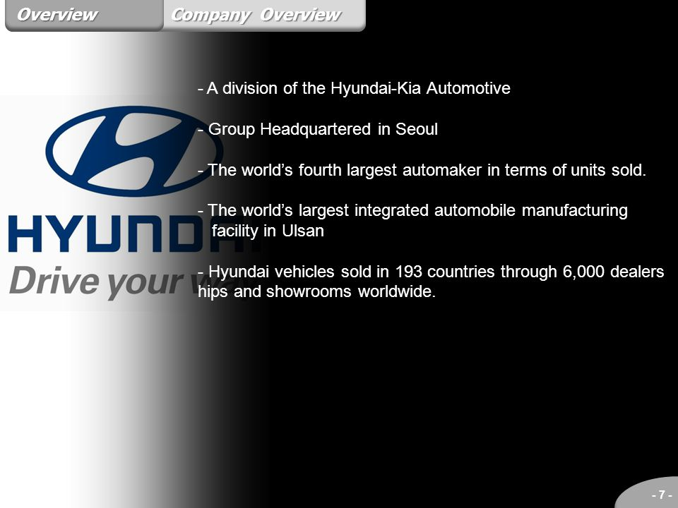 Overview Company Overview. - A division of the Hyundai-Kia Automotive. - Group Headquartered in Seoul.