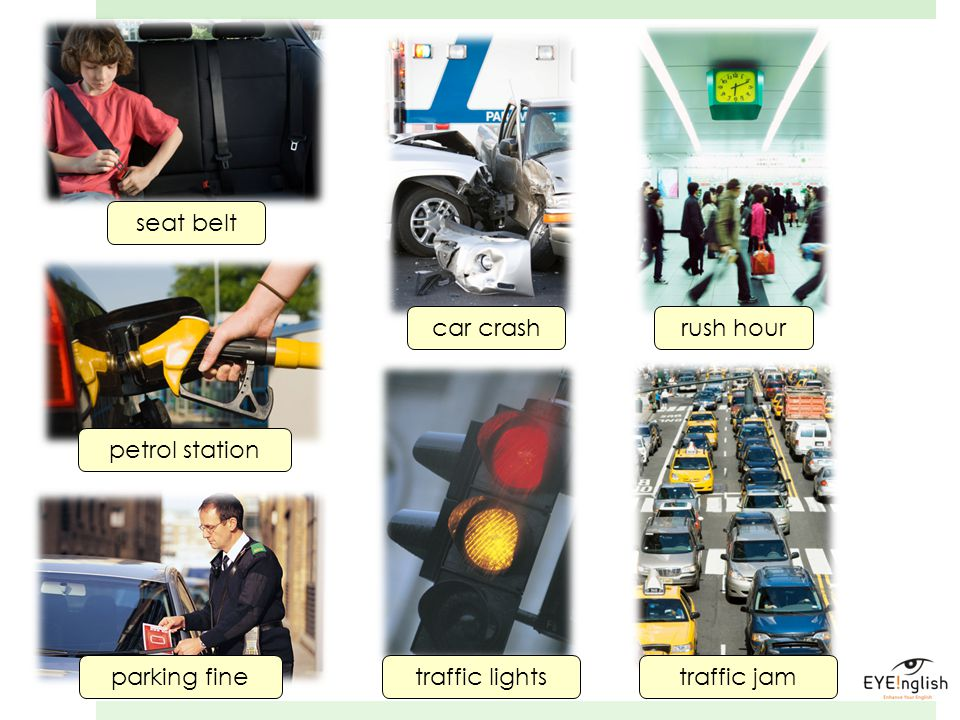 seat belt car crash rush hour petrol station parking fine traffic lights traffic jam