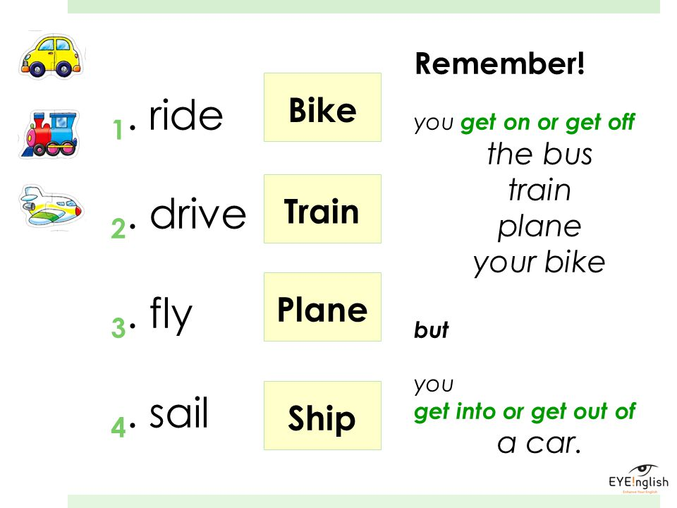 1. ride 2. drive 3. fly 4. sail Bike Train Plane Ship Remember!