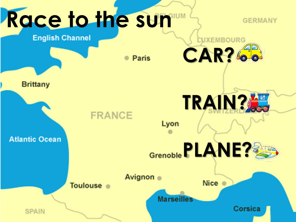 Race to the sun CAR TRAIN PLANE
