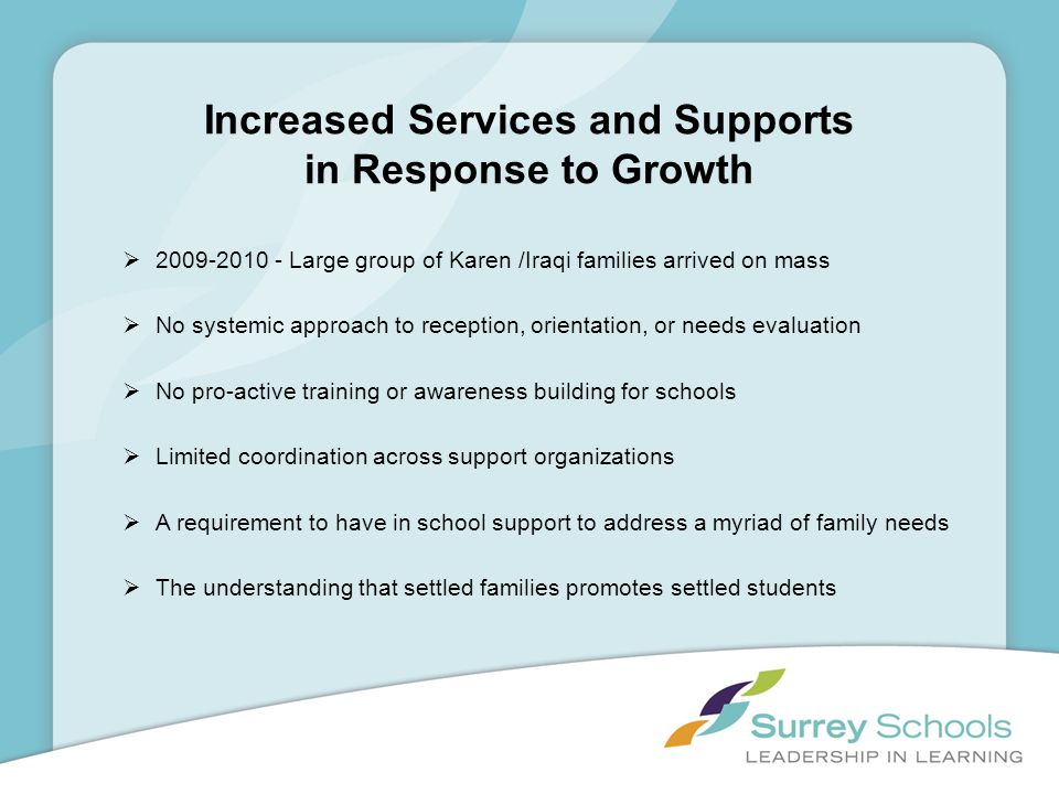Increased Services and Supports in Response to Growth