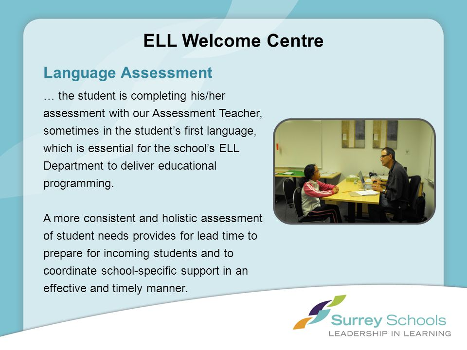 ELL Welcome Centre Language Assessment