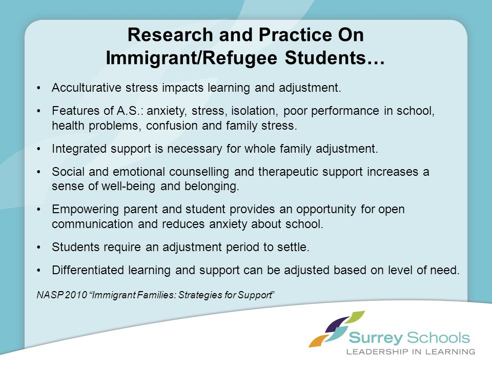 Research and Practice On Immigrant/Refugee Students…