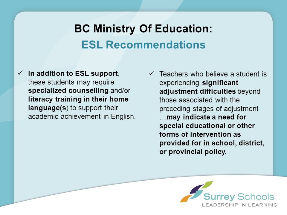 BC Ministry Of Education: ESL Recommendations