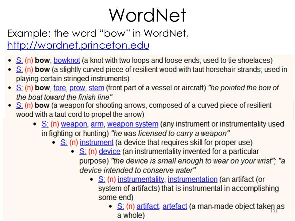 WordNet Example: the word bow in WordNet, http://wordnet.princeton.edu