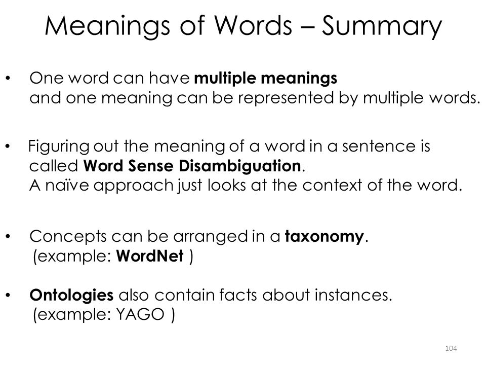 Meanings of Words – Summary