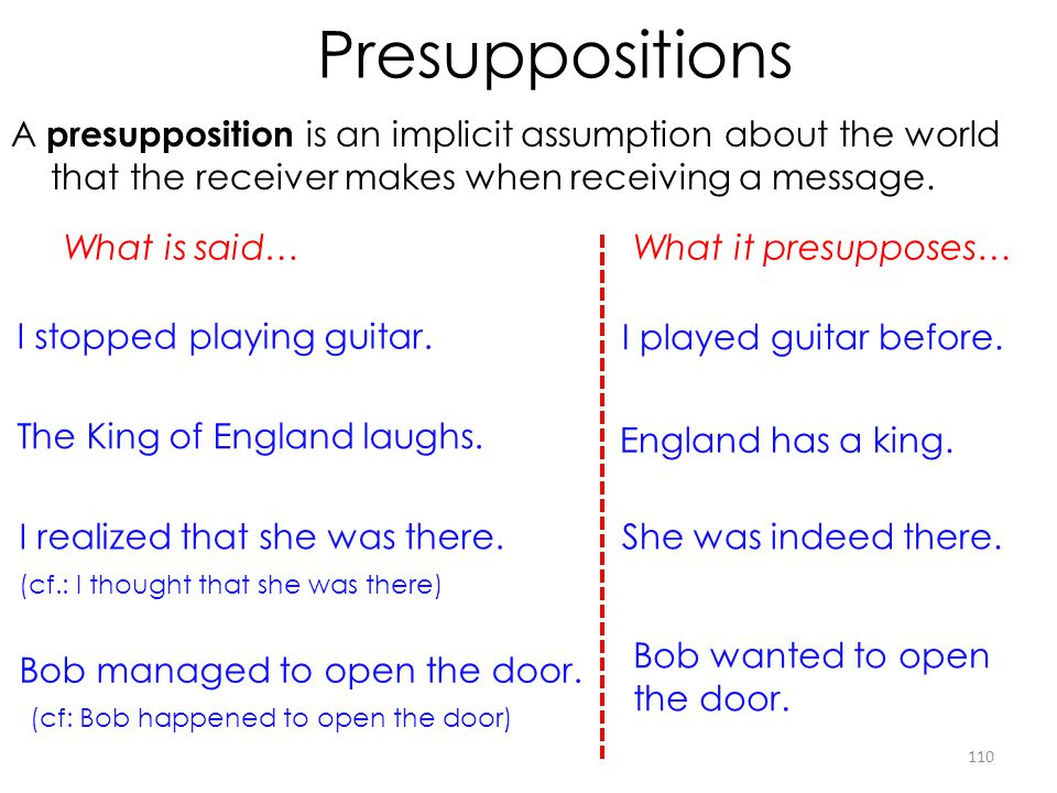 Presuppositions A presupposition is an implicit assumption about the world that the receiver makes when receiving a message.