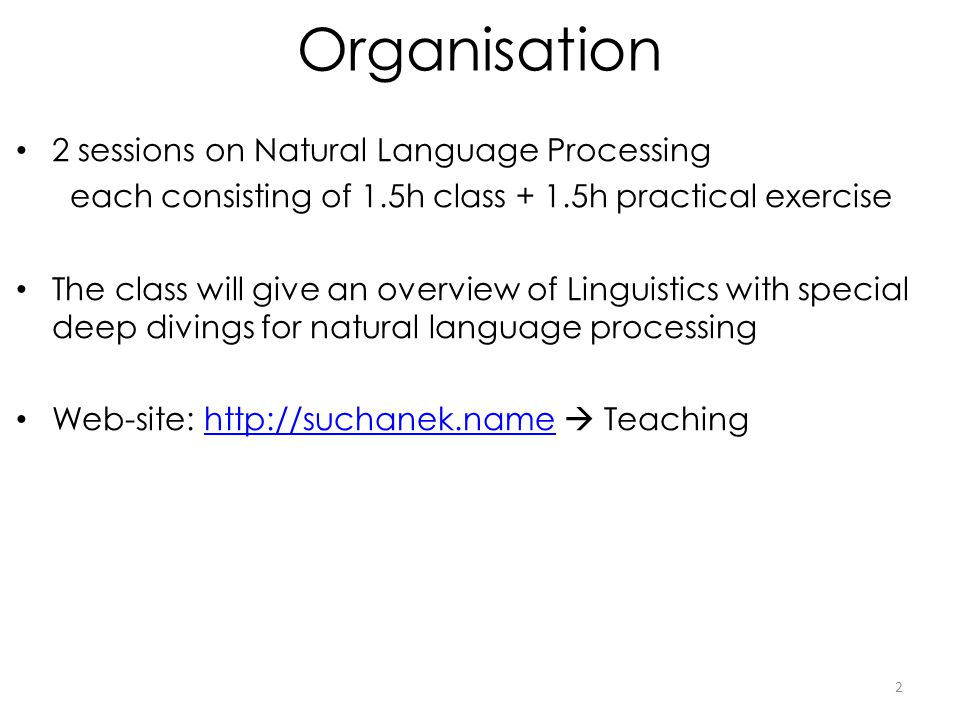 Organisation 2 sessions on Natural Language Processing