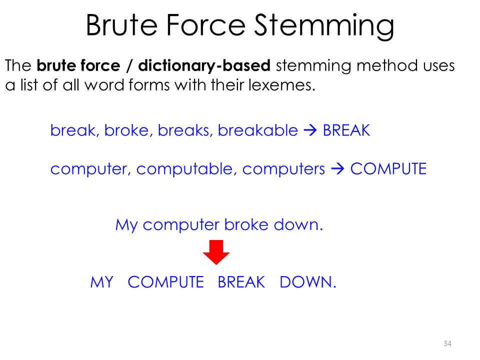Brute Force Stemming The brute force / dictionary-based stemming method uses a list of all word forms with their lexemes.