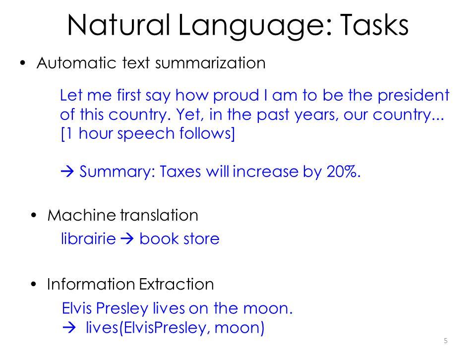 Natural Language: Tasks