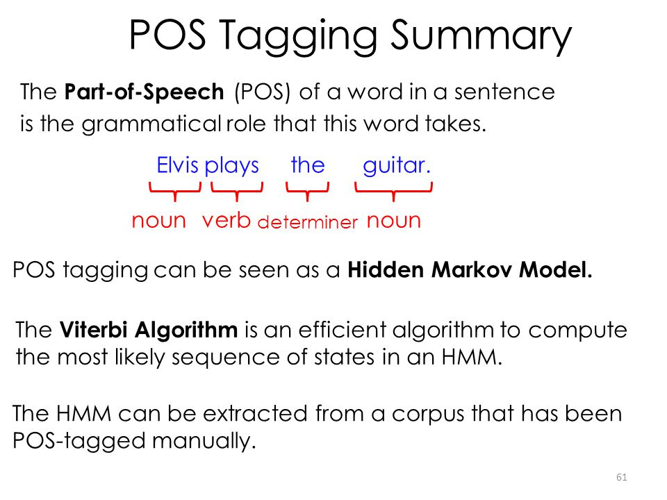 POS Tagging Summary The Part-of-Speech (POS) of a word in a sentence