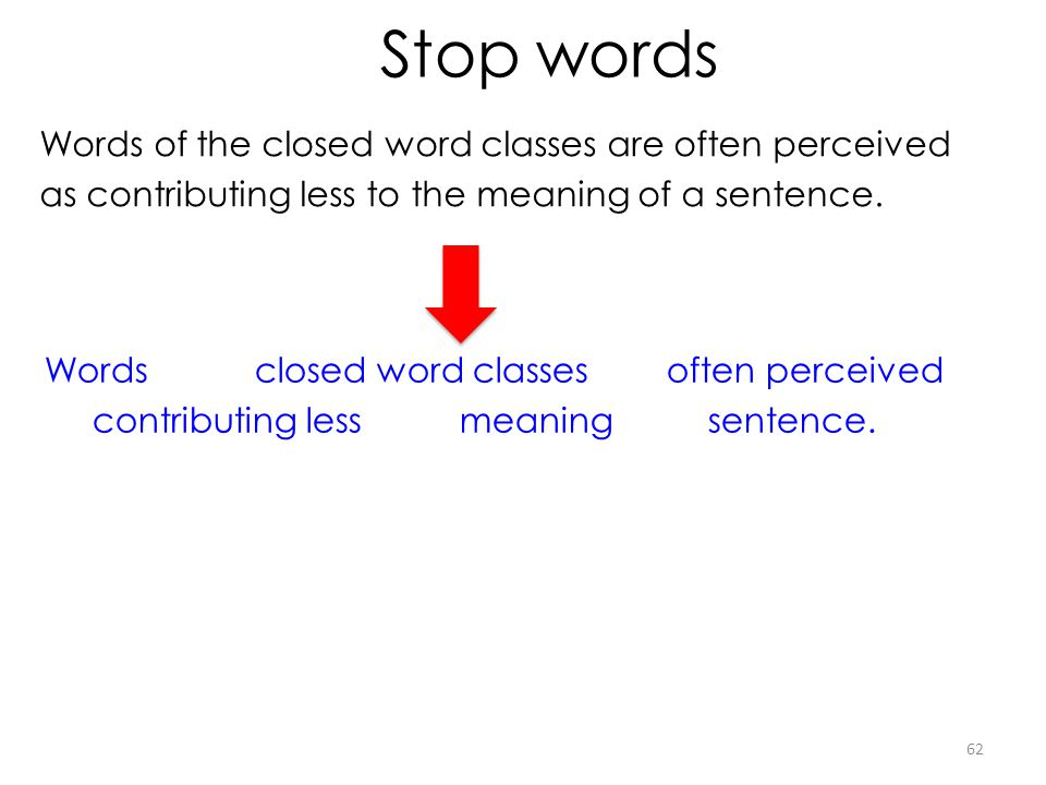 Stop words Words of the closed word classes are often perceived