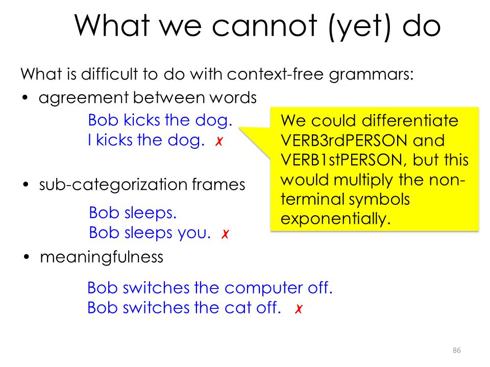 What we cannot (yet) do What is difficult to do with context-free grammars: agreement between words.
