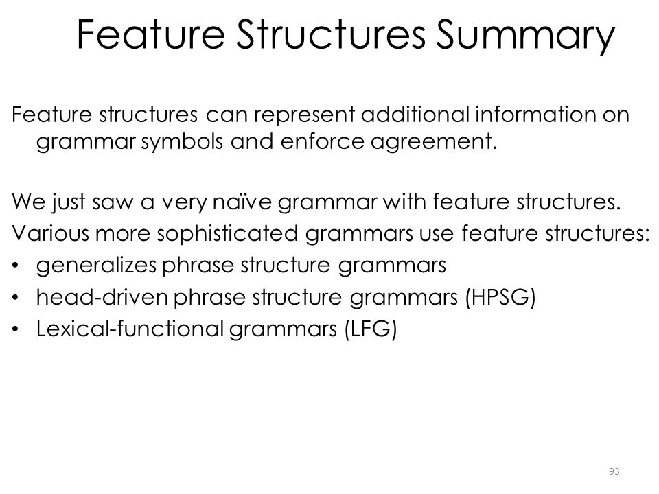Feature Structures Summary