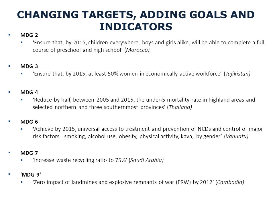 CHANGING TARGETS, ADDING GOALS AND INDICATORS