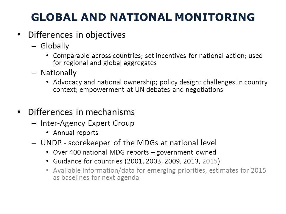 GLOBAL AND NATIONAL MONITORING