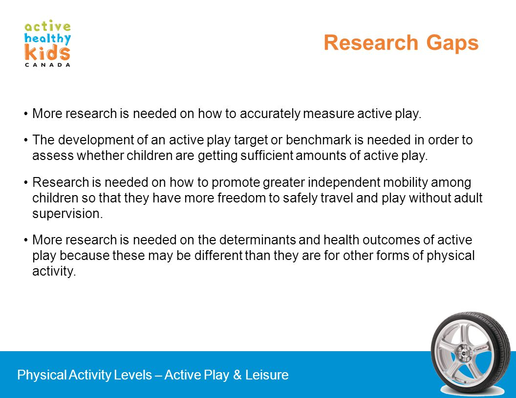 Research Gaps More research is needed on how to accurately measure active play.