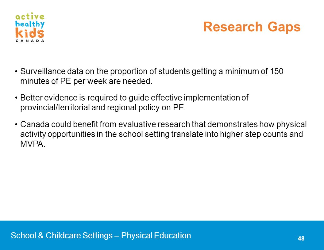 Research Gaps Surveillance data on the proportion of students getting a minimum of 150 minutes of PE per week are needed.