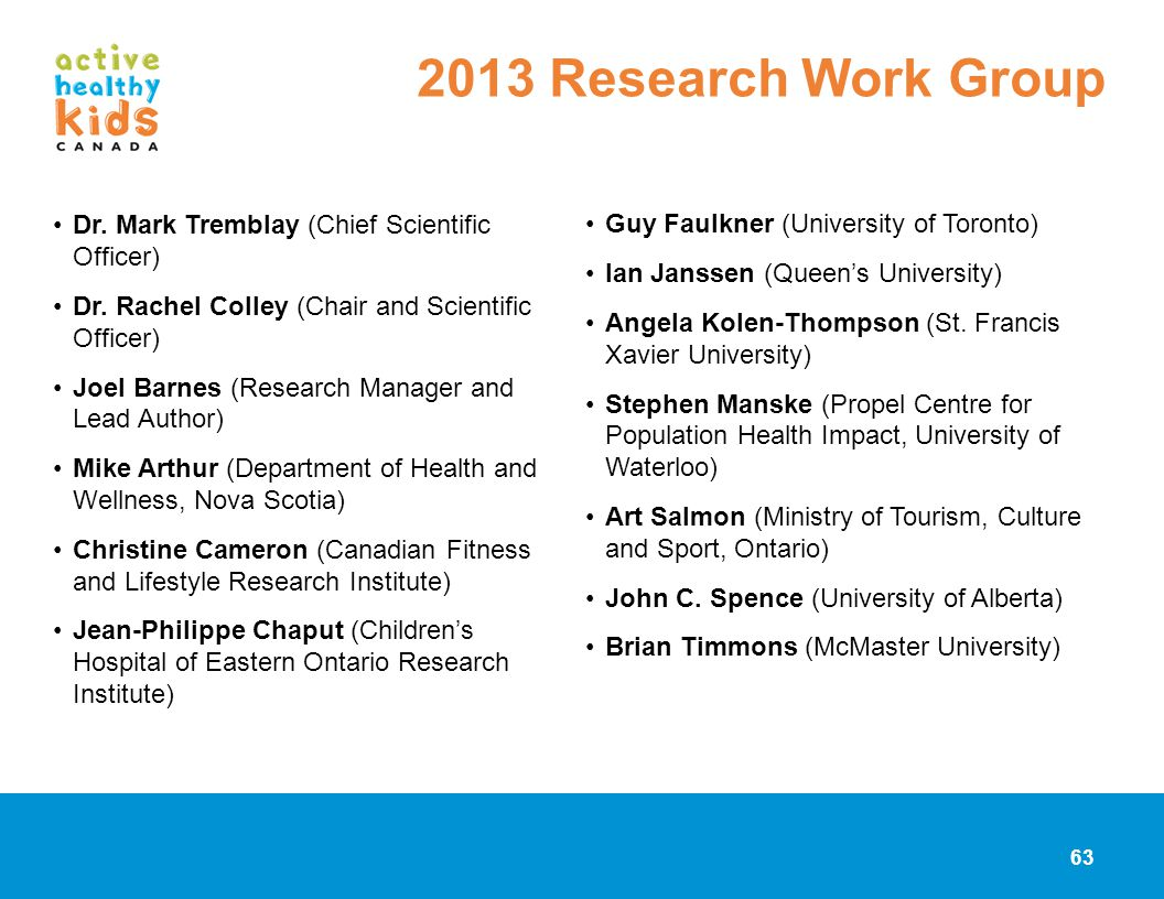 2013 Research Work Group Dr. Mark Tremblay (Chief Scientific Officer)