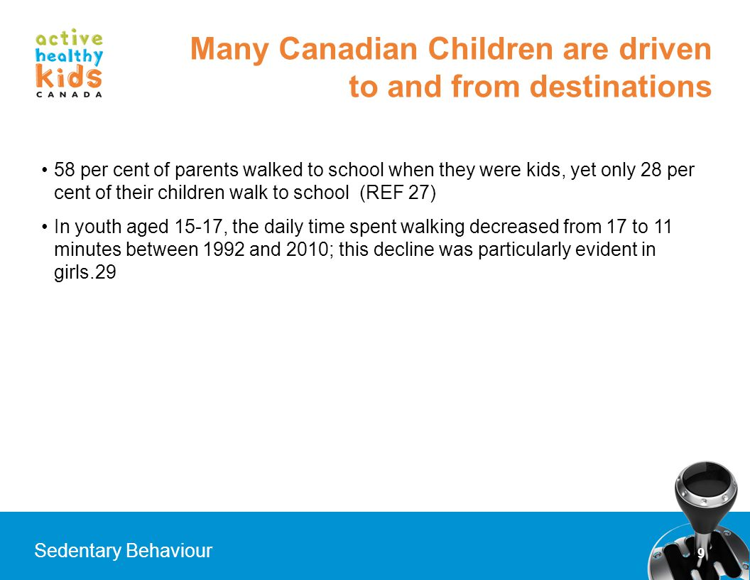 Many Canadian Children are driven to and from destinations